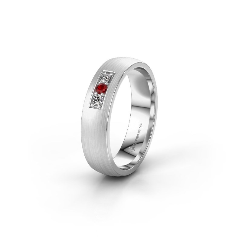 Wedding ring WH0110L25AM 375 white gold ruby ±5x1.7 mm