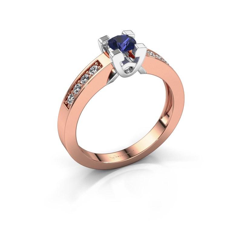 Verlovingsring Nina 2 585 rosé goud saffier 4.2 mm