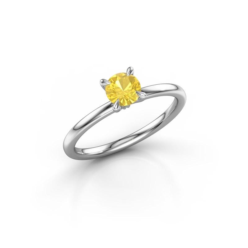 Verlovingsring Crystal RND 1 925 zilver gele saffier 5 mm
