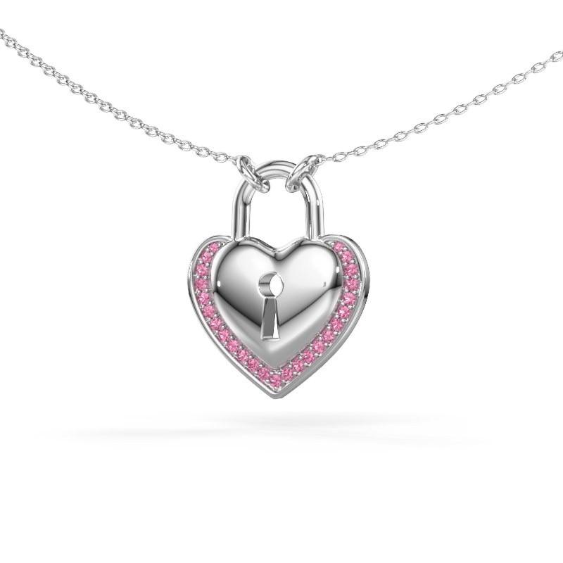 Halsketting Heartlock 375 witgoud roze saffier 1 mm