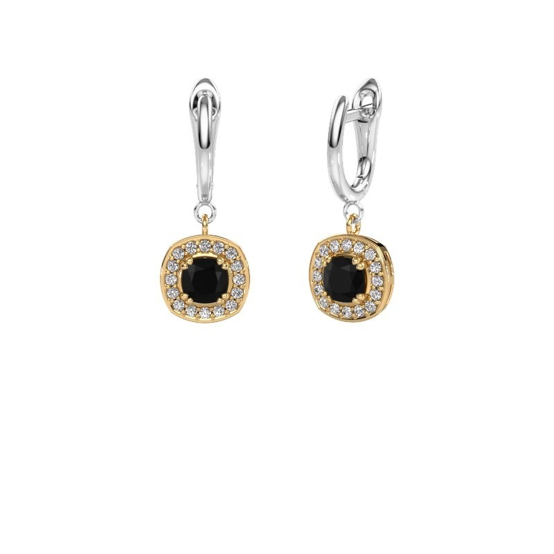 Drop earrings Marlotte 1 585 gold black diamond 0.60 crt