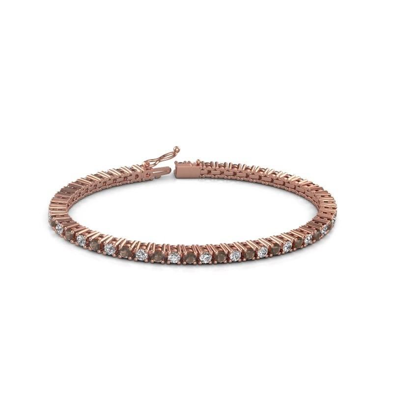 Tennis bracelet Petra 375 rose gold smokey quartz 3 mm