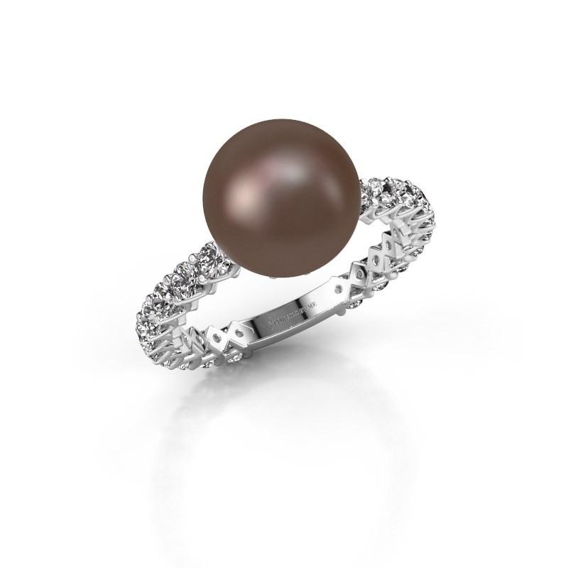 Ring Nele 585 witgoud bruine parel 9 mm