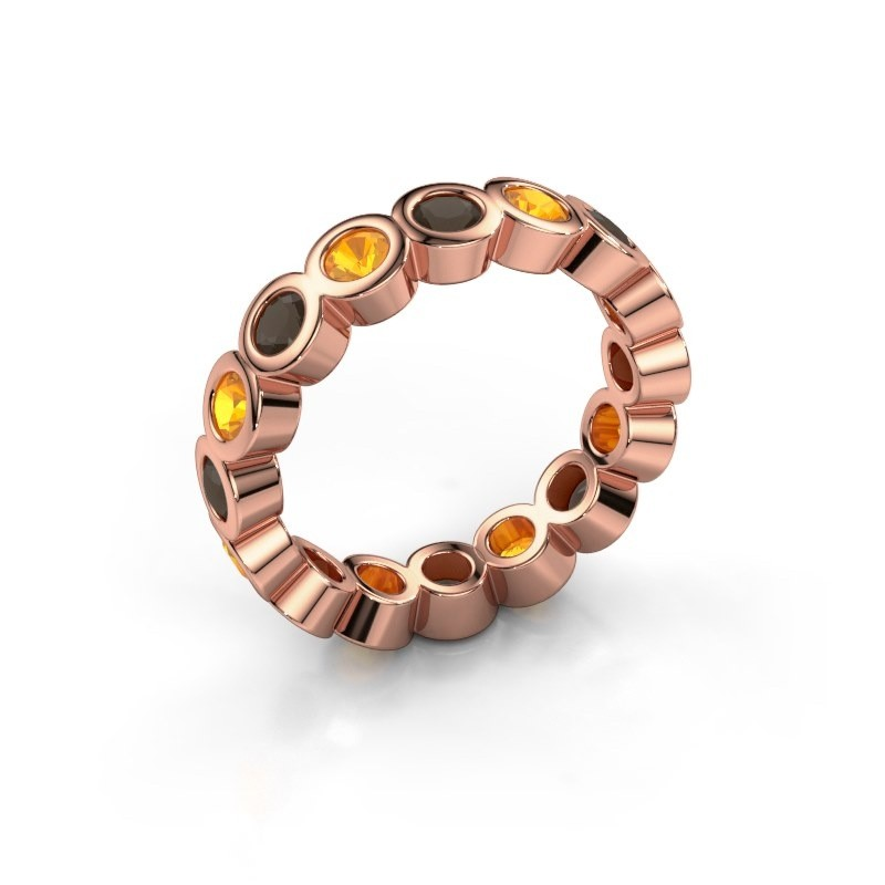 Stackable ring Edwina 3 375 rose gold smokey quartz 3 mm