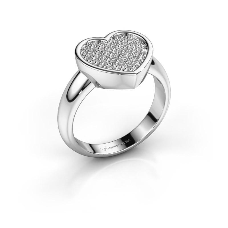 Ring Veerle 585 witgoud diamant 0.15 crt