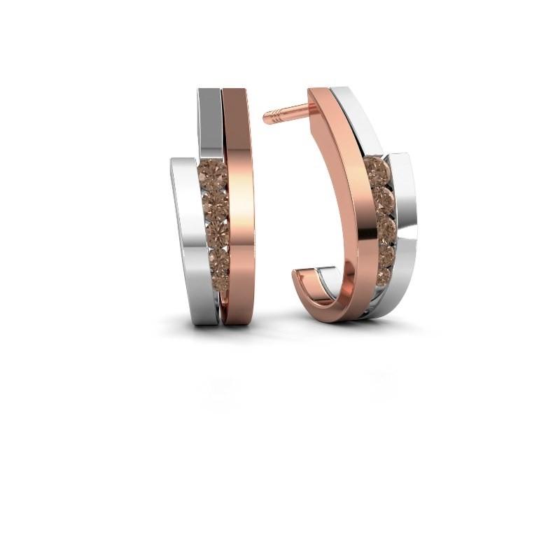 Oorbellen Cato 585 rosé goud bruine diamant 0.25 crt