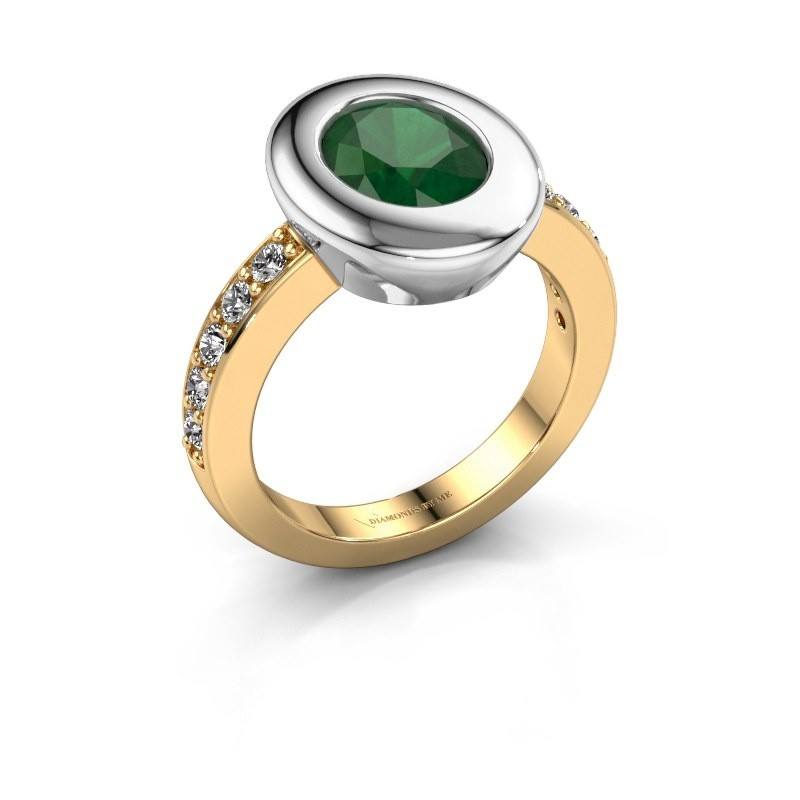 Ring Selene 2 585 gold emerald 9x7 mm