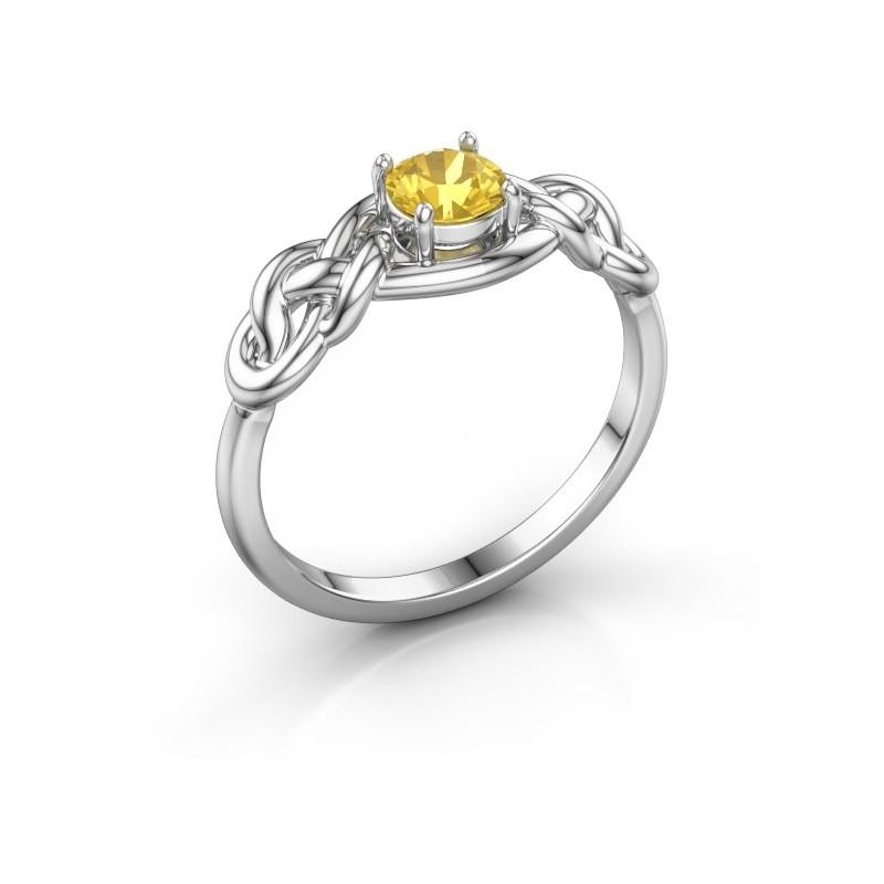 Ring Zoe 585 Weißgold Gelb Saphir 5 mm