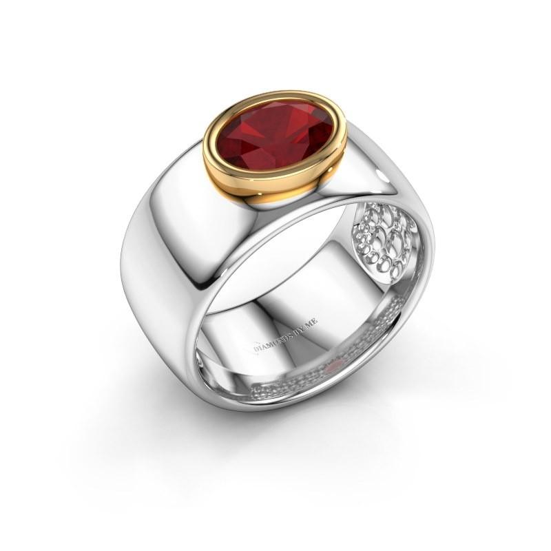 Ring Anouschka 585 witgoud robijn 8x6 mm