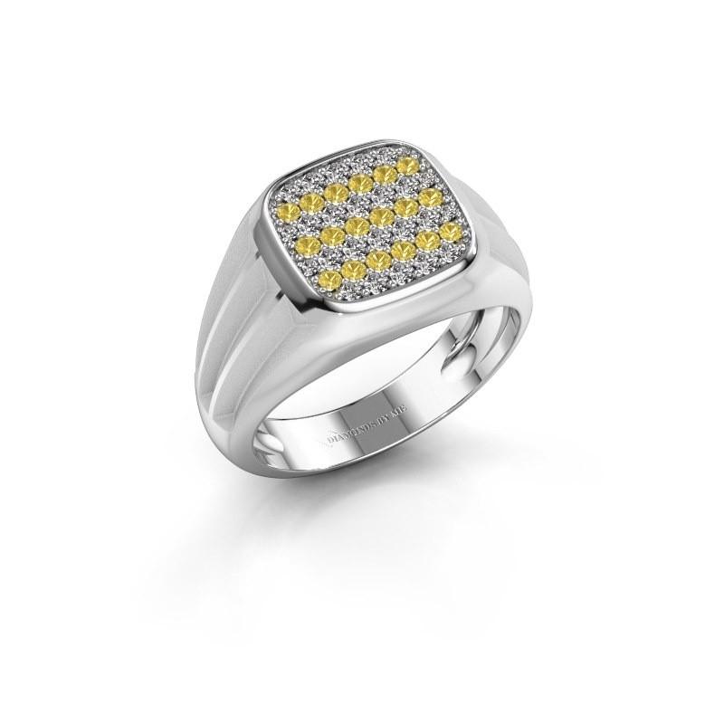 Pinky ring Robbert 375 white gold yellow sapphire 1.4 mm