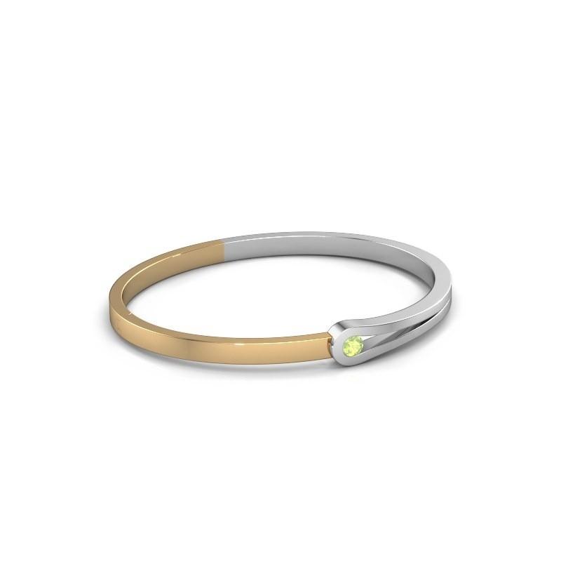 Bracelet jonc Kiki 585 or blanc péridot 4 mm
