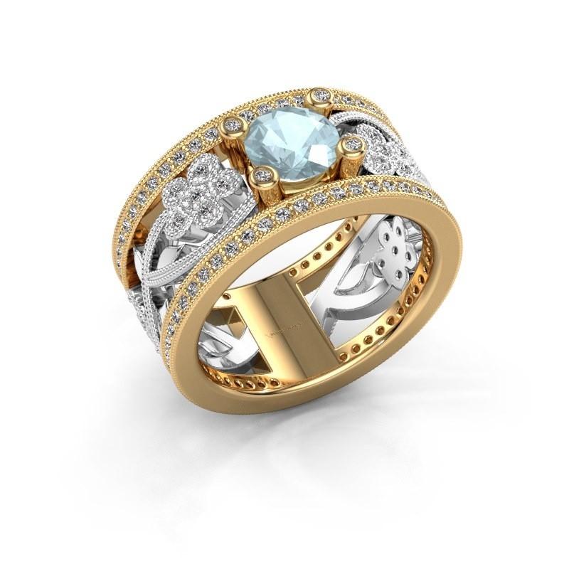 Ring Severine 585 goud aquamarijn 6 mm