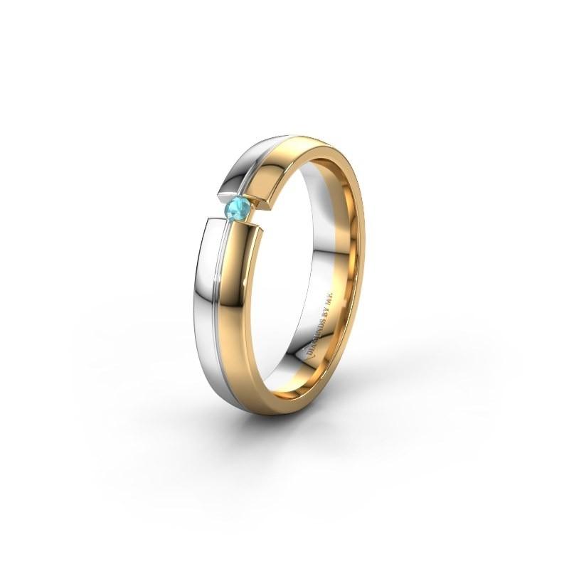 Trouwring WH0254L24X 585 goud blauw topaas ±4x1.5 mm