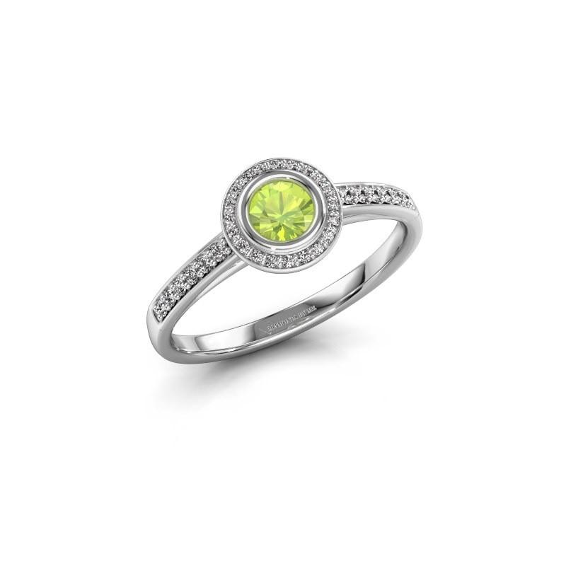 Engagement ring Noud 2 RND 950 platinum peridot 4 mm
