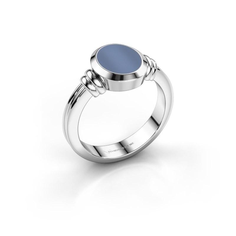 Pinkring Jake 1 925 zilver licht blauwe lagensteen 10x8 mm