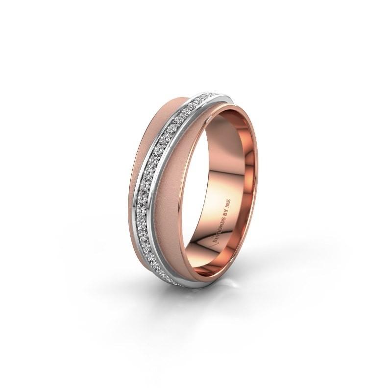 Huwelijksring WH2126L 585 rosé goud zirkonia ±6x1.7 mm
