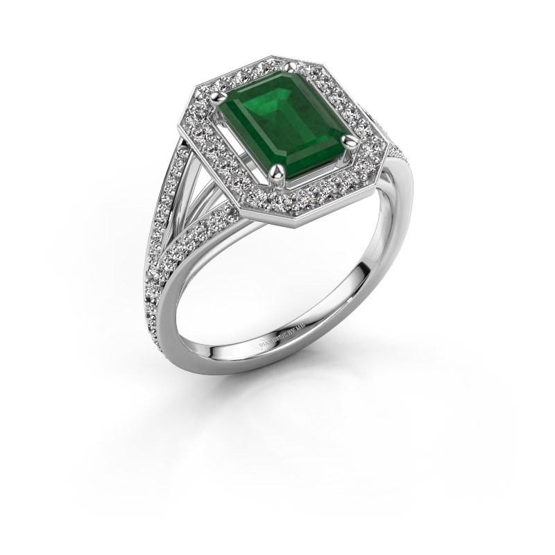 Promise ring Angelita EME 950 platina smaragd 8x6 mm