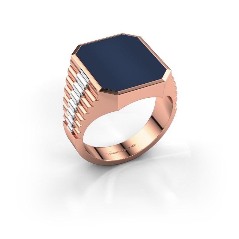 Rolex stijl ring Brent 4 585 rosé goud donker blauw lagensteen 16x13 mm