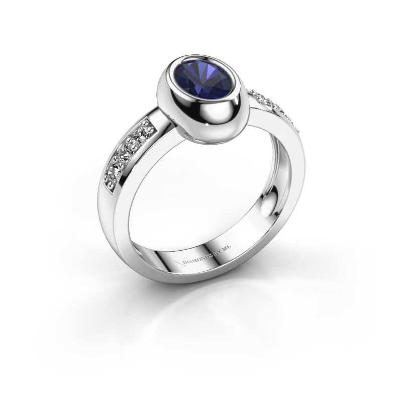 Ring Charlotte Oval 585 witgoud saffier 7x5 mm