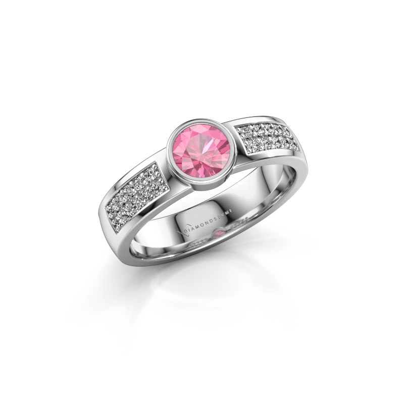 Engagement ring Ise 3 950 platinum pink sapphire 4.7 mm