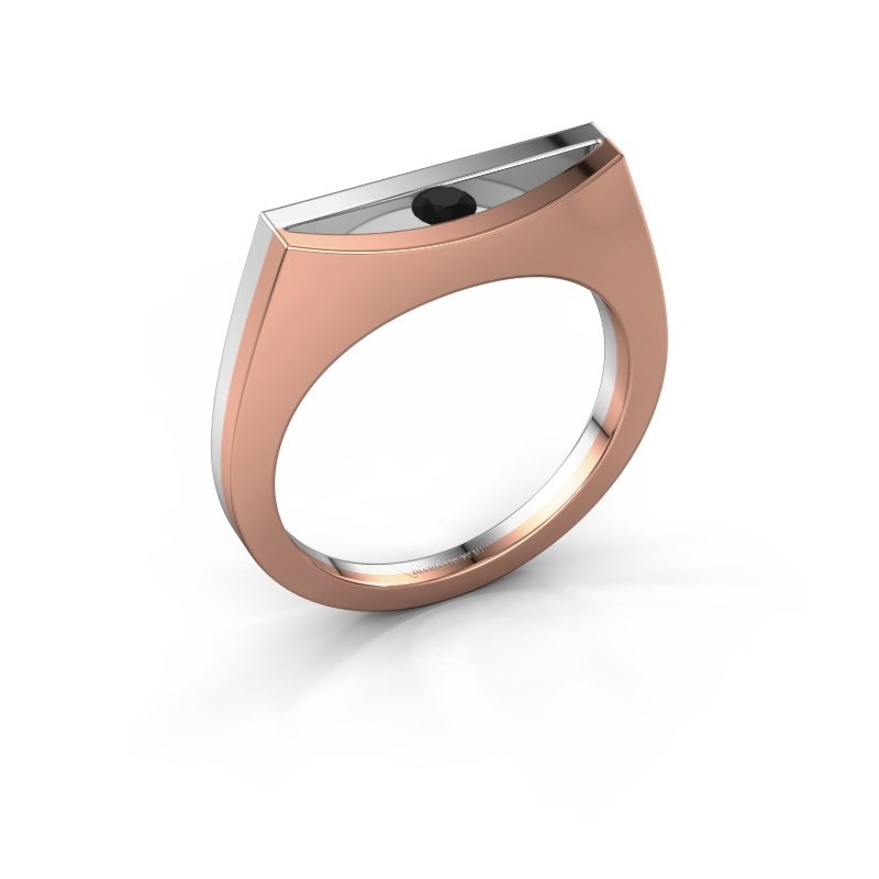 Ring Milou 585 Roségold Schwarz Diamant 0.12 crt