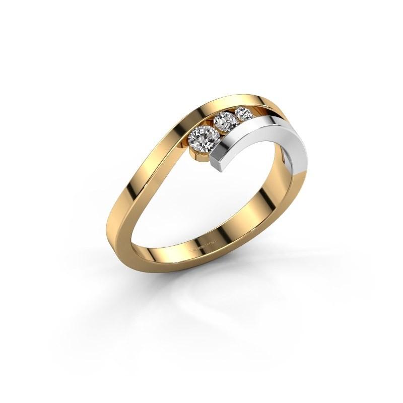 Ring Evalyn 2 585 goud lab-grown diamant 0.16 crt