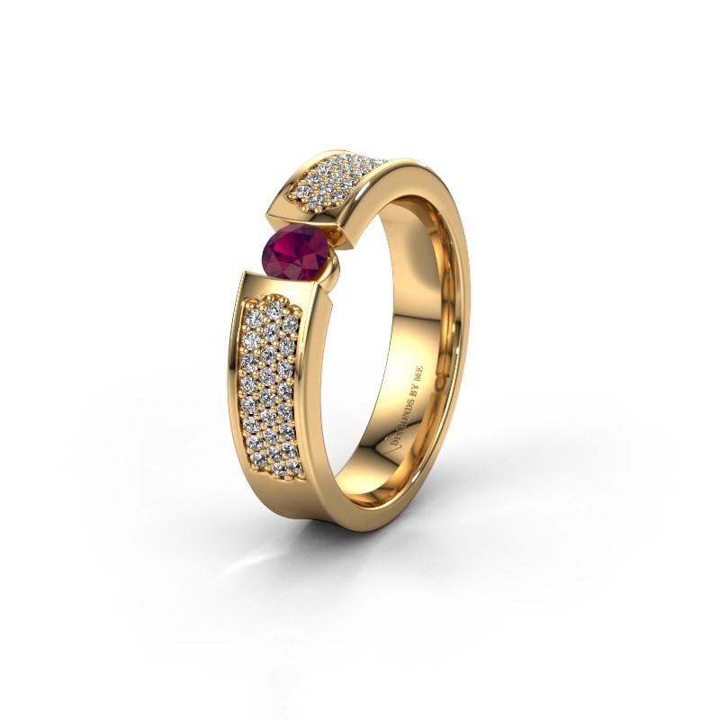 Trouwring WH2100L 375 goud rhodoliet ±5x3 mm