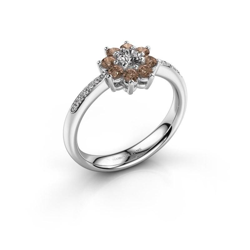Verlovingsring Camille 2 585 witgoud bruine diamant 0.15 crt