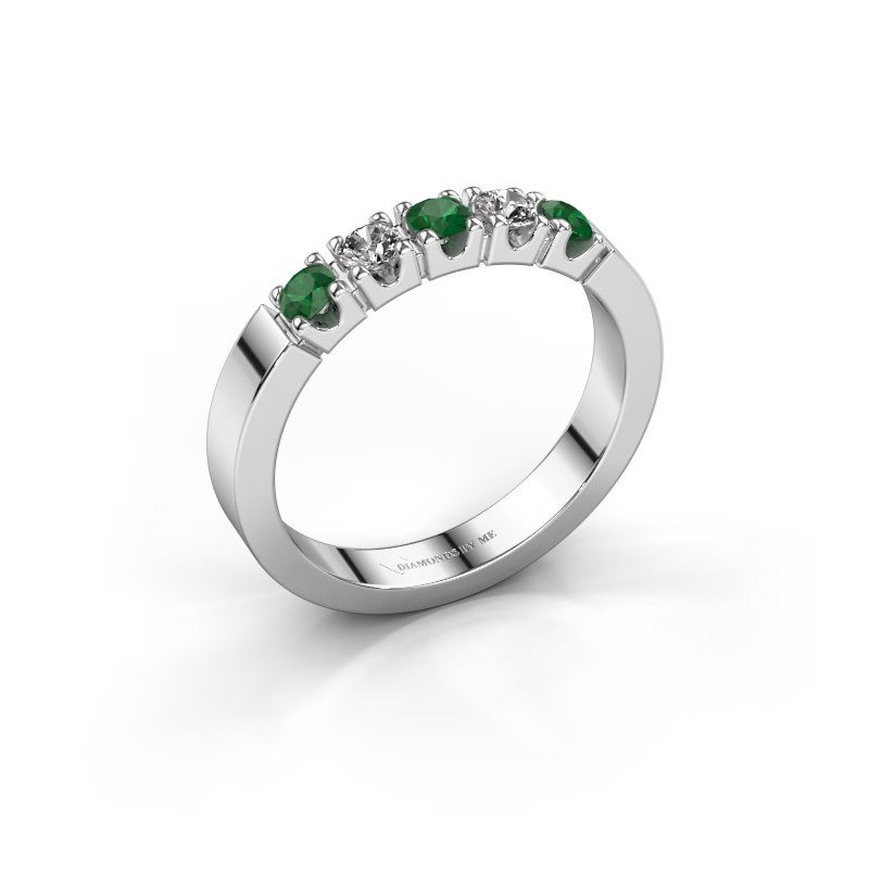 Engagement ring Dana 5 585 white gold emerald 3 mm
