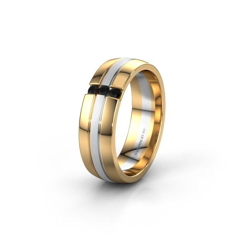 Wedding ring WH0426L26A 585 gold black diamond ±6x1.7 mm