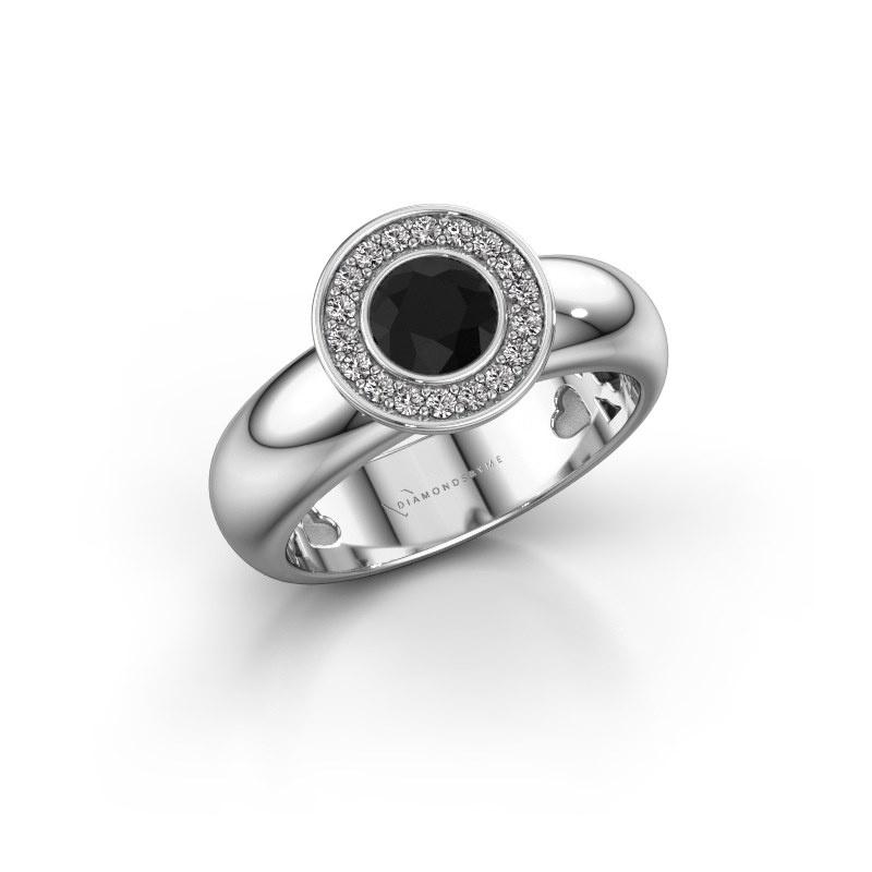Stacking ring Anna 925 silver black diamond 0.735 crt