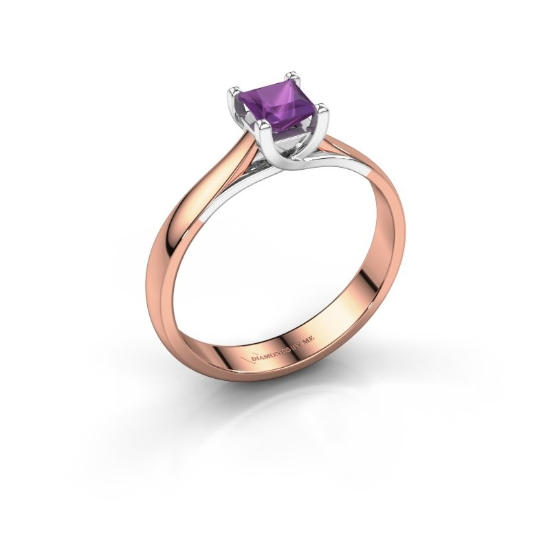 Engagement ring Mia Square 585 rose gold amethyst 4 mm