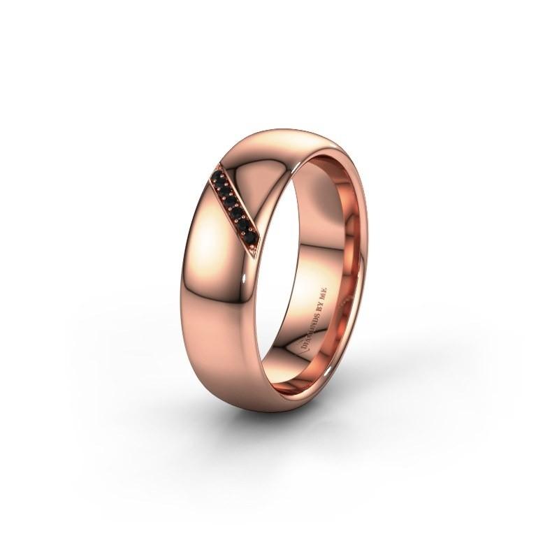 Trouwring WH0164L36B 375 rosé goud zwarte diamant ±6x2 mm