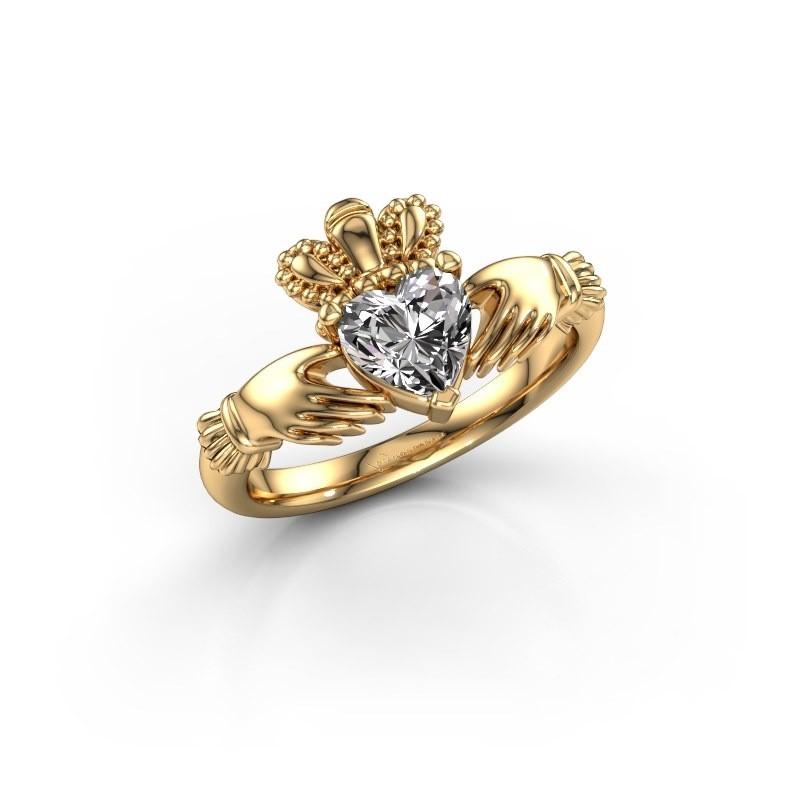 Ring Claddagh 2 585 goud zirkonia 6 mm