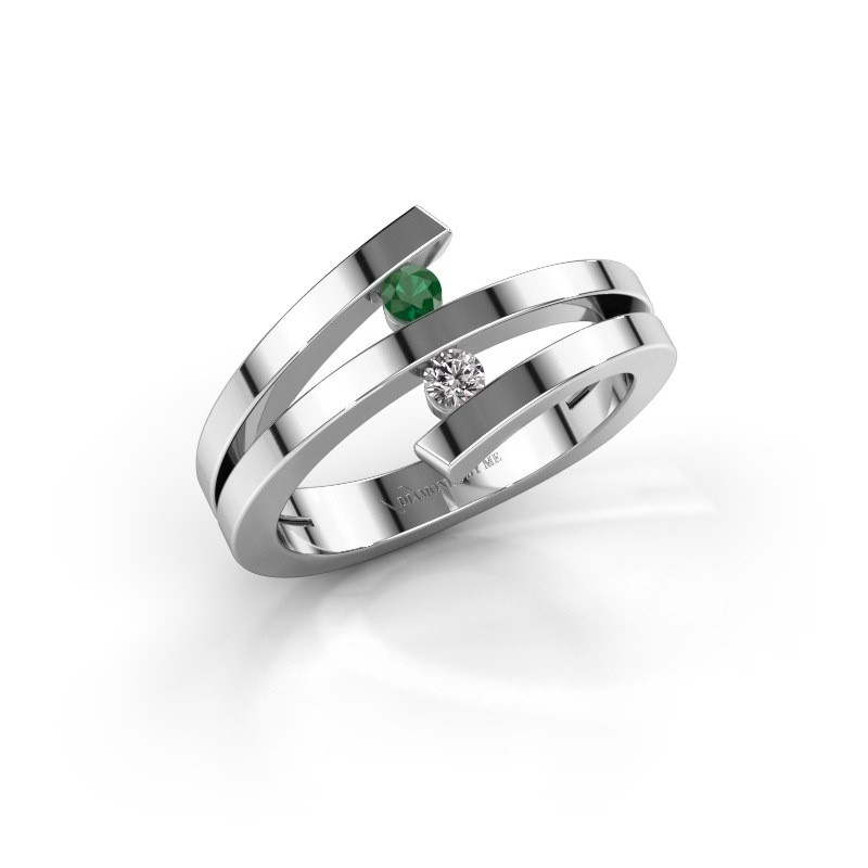 Ring Synthia 585 witgoud smaragd 2.5 mm