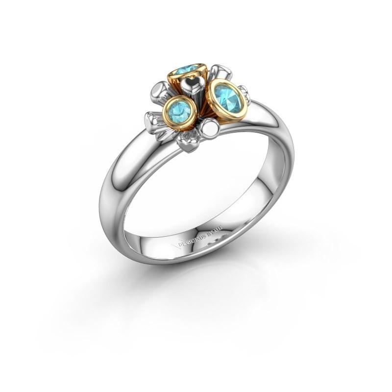 Ring Pameila 585 witgoud blauw topaas 2 mm