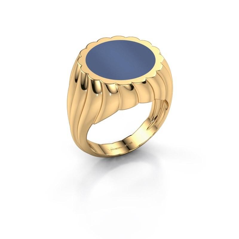 Zegelring Mano 585 goud blauw lagensteen 13 mm