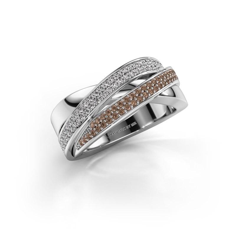 Ring Myra 950 platina bruine diamant 0.50 crt