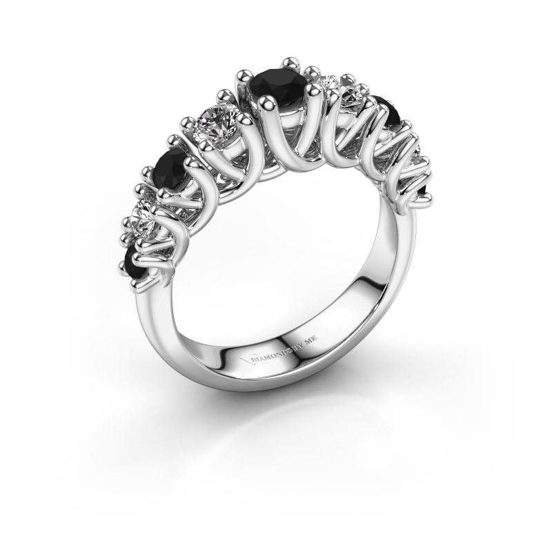 Engagement ring Fatima 585 white gold black diamond 1.072 crt