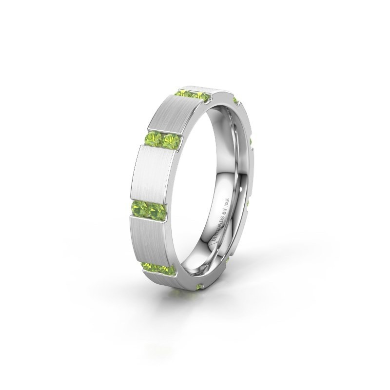 Huwelijksring WH2132L14BM 925 zilver peridoot ±4x2.2 mm