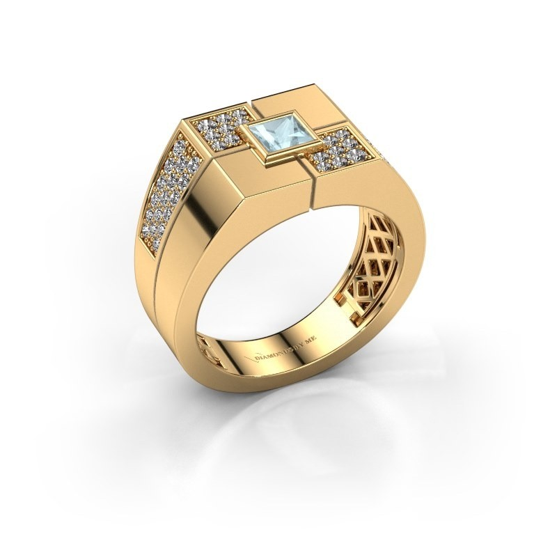 Men's ring Rogier 585 gold aquamarine 4 mm
