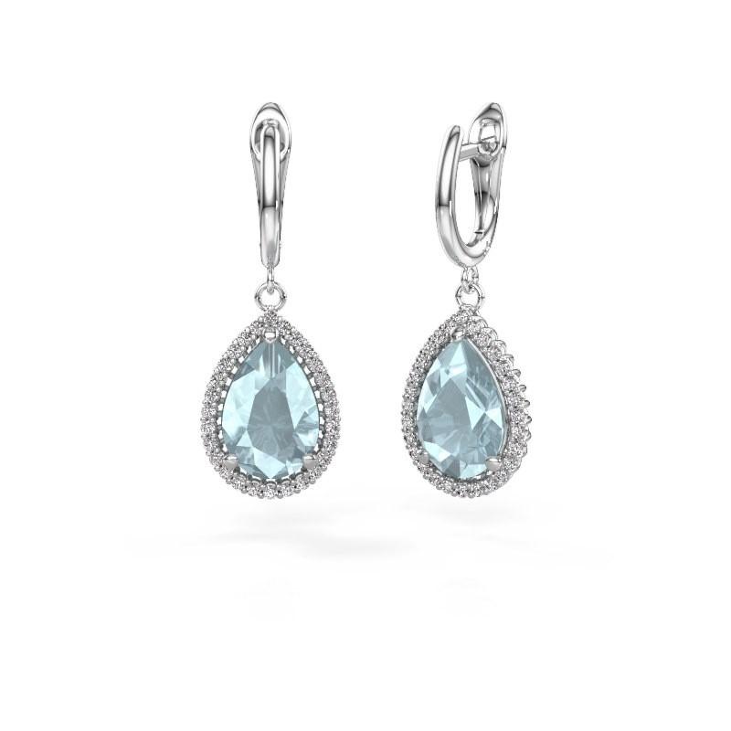 Drop earrings Tilly per 3 950 platinum aquamarine 12x8 mm