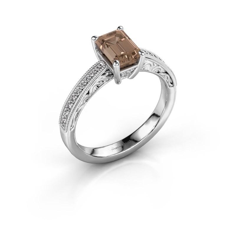 Bague de fiançailles Shonta EME 925 argent diamant brun 1.28 crt
