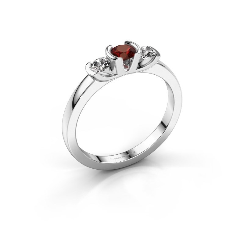 Bague Lucia 585 or blanc grenat 3.7 mm