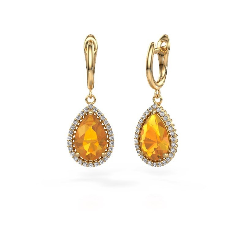 Oorhangers Hana 1 585 goud citrien 12x8 mm