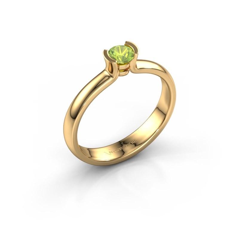 Engagement ring Ophelia 375 gold peridot 4 mm