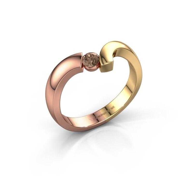Ring Arda 585 rosé goud bruine diamant 0.15 crt