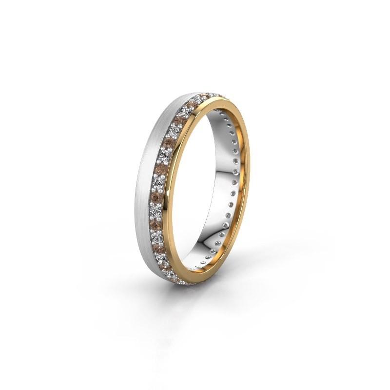 Trouwring WH0303L24AM 585 witgoud bruine diamant ±4x1.7 mm