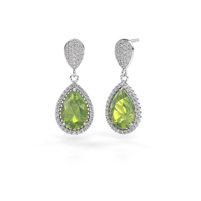 Drop earrings Tilly per 2 950 platinum peridot 12x8 mm
