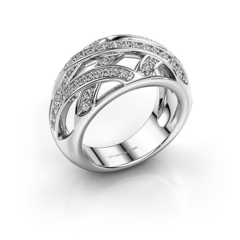 Ring Yinthe 585 witgoud zirkonia 1.5 mm